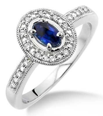 14k Gold Genuine Blue Sapphire & Round Diamond Ring