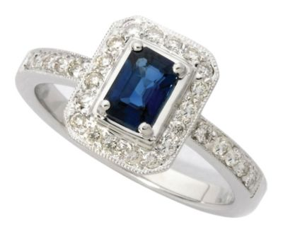 14k White Gold Emerald Cut Blue Sapphire & Round Diamond Ring