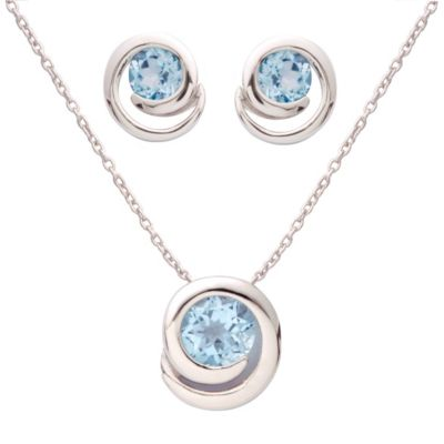 7mm Genuine Round Blue Topaz Earring & Necklace Set
