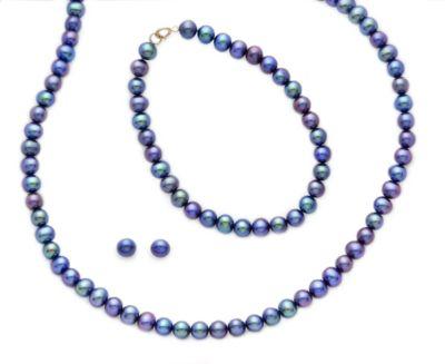 5.5mm Black Freshwater Pearl Earring, Bracelet & Necklace Set