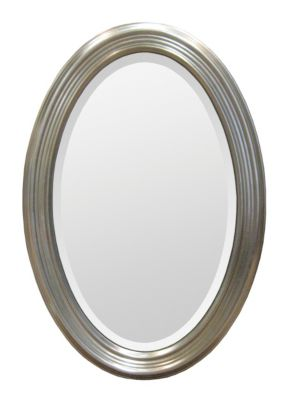 Magnolia Oval Beveled Mirror - Silver Leafed