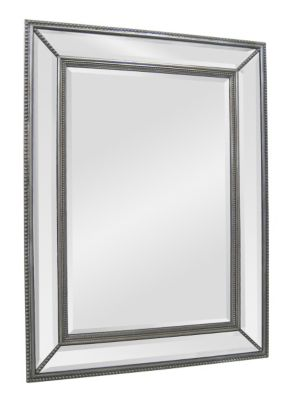 Phoebe Beveled Mirror - Antique Silver