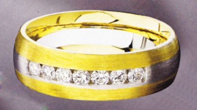 White and Yellow Gold Men's Band with Round White Diamonds