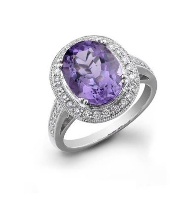 14 kt. White Gold Diamond & Amethyst Ring