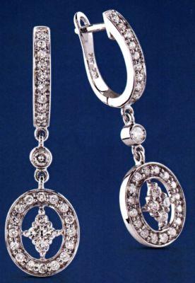 14k White Drop Drop Diamond Earrings