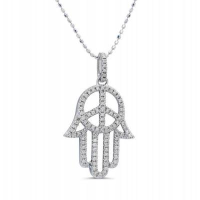 White Gold Combination of a Hamsa and Peace Sign Design White Diamond Pendant