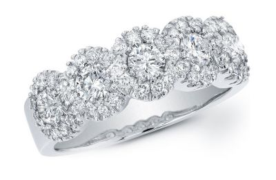 14k Diamond White Gold Band
