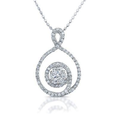 14k White Gold Swirl Design Diamond Pendant