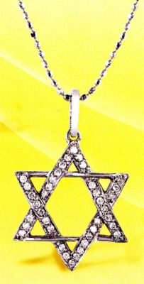 14k Gold Star of David Diamond Pendant