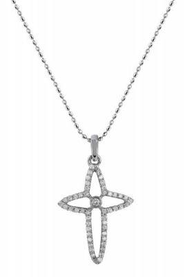 14k White Gold Cross Diamond Pendant