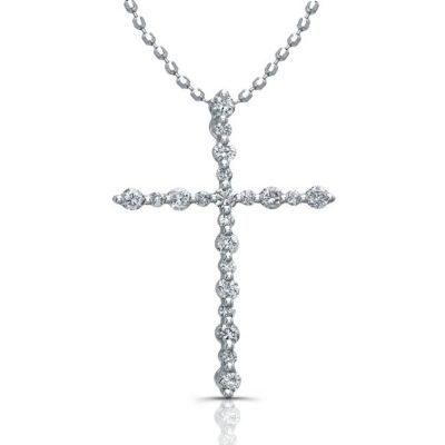 14k White Gold White Diamond Cross Pendant
