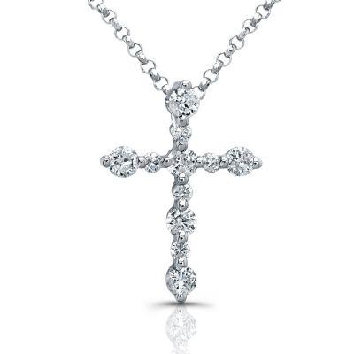 14k White Gold White Diamond Cross