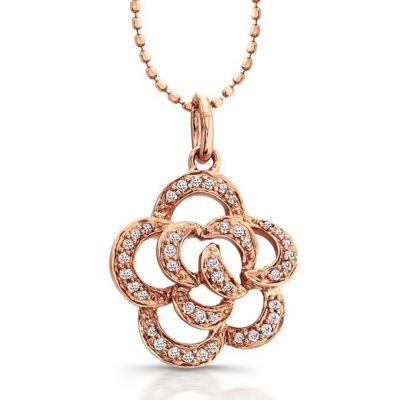 Rose Gold Delicate Rose Diamond Pendant