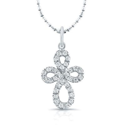 14k White Gold Diamond-Studded Diamond Cross