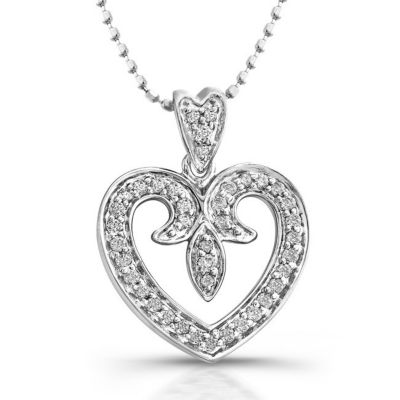 14k White Gold Antique Heart Shaped Diamond Pendant