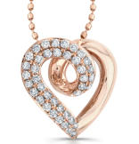 14k Rose Gold Swirl Heart Design Diamond Pendant