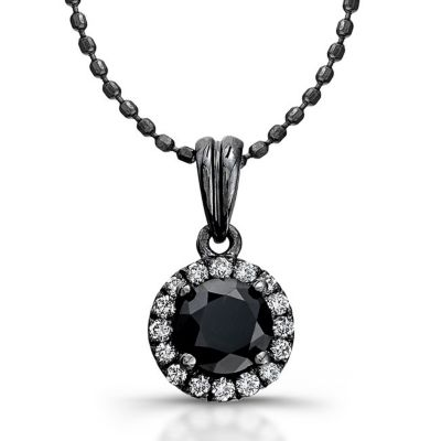 Black Rhodium-Plated Gold Black & White Diamond Halo Pendant