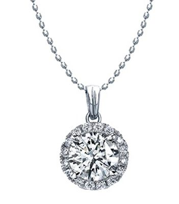 White Diamond Halo Pendant