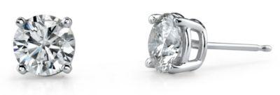 14k White Gold Round Diamond Basket Stud Earrings - 1/2 cttw.