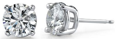 14k White Gold Round Diamond Basket Stud Earrings - 1/4 ct tw.