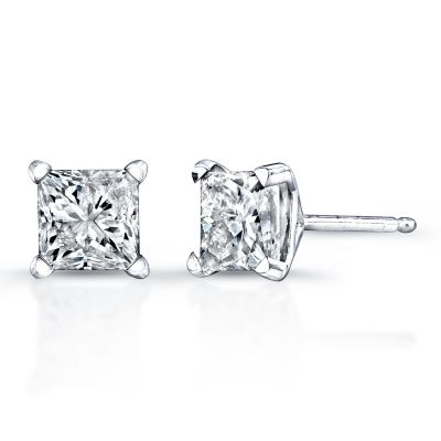 14kt. White Gold Princess-Cut Diamond Stud Earrings