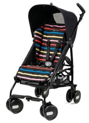 Pliko Mini Lightweight Stroller - Black/Neon Multi Stripes