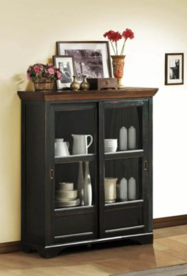 Ohana Curio Cabinet - Antique Black & Warm Cherry