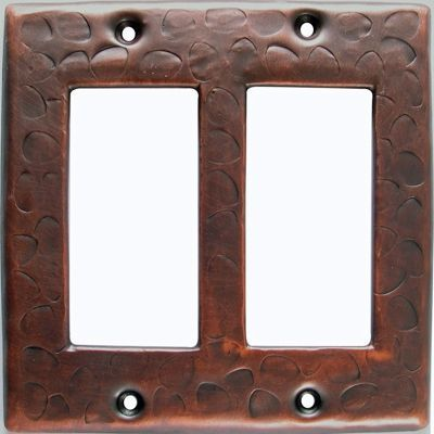 Customizable Copper Double Gang Rocker Switch Cover Plate