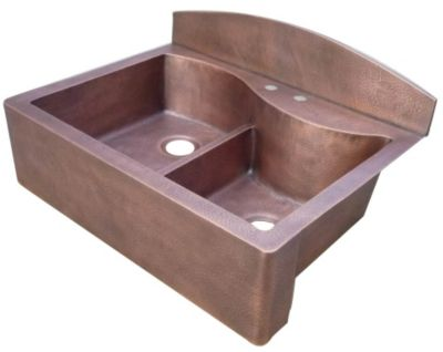 36 Quot Customizable Copper Double Bowl S Curved Back Apron Front Farmhouse Kitchen Sink With Backsplash Directbuy Inc