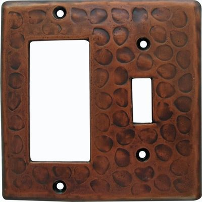 Customizable Copper Double Gang Rocker/Switch Combo Cover Plate