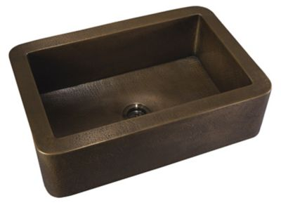 "Copper 33"" Large Single Bowl Apron Front Undermount Kitchen Sink"