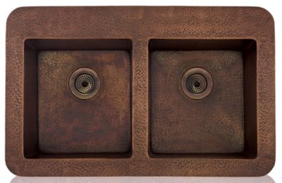 "Copper 35"" Equal Double Bowl Topmount/Undermount Kitchen Sink"