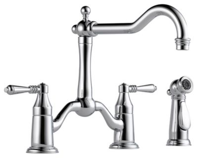 Tresa® 2-Handle Bridge Kitchen Faucet with Side Sprayer - Polished Chrome