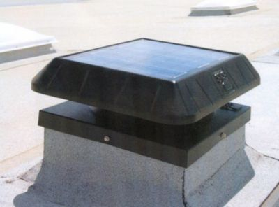 Sun Rise­™ 850 Solar-Powered Curb Base Attic Fan with Thermostat - 11 Watts
