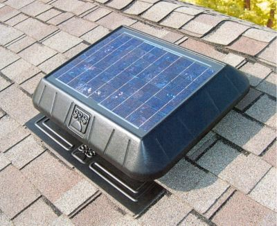 Sun Rise­™ 850 Solar-Powered Flat Base Attic Fan with Thermostat - 11 Watts