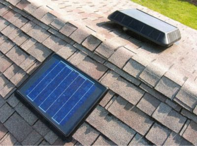 Sun Rise™ 850 Solar-Powered Flat Base Attic Fan with Remote Panel & Thermostat - 11 Watts