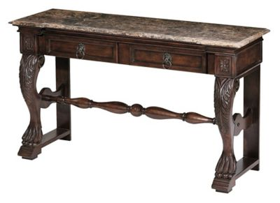 Cornwall 2-Drawer Carved Console Table - Old World Cherry