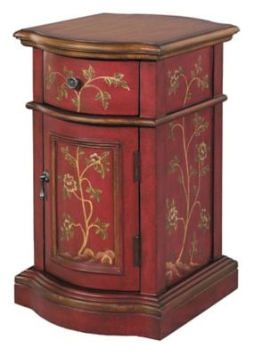 Reia 1-Drawer Petite Chairside Cabinet - Exotic Red