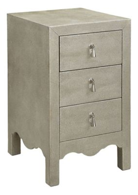 5th Avenue 3-Drawer Chairside Table - Textured Champagne Silver