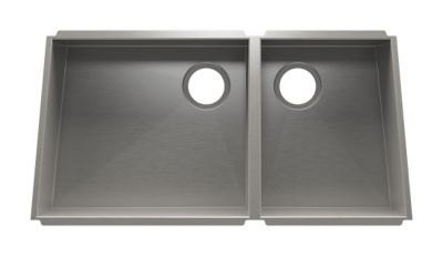 Trapezoid Undermount Kitchen Sink with Double Bowl