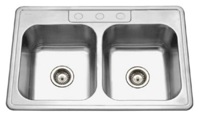 Glowtone Topmount Double Bowl Kitchen Sink - Lustrous Satin
