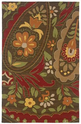 Country Area Rug - Mocha/Cranberry/Pumpkin