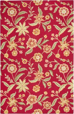 Country Area Rug - Chinese Red/Ochre/Olive