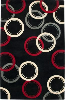Fusion Area Rug - Ebony/Chinese Red/Ivory/Pewter