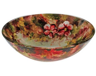 Brescia 12mm Round Tempered Glass Flower Artistic Hand-Painted Layered Glass Vessel