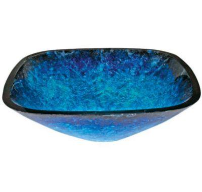 Andria 12mm Square Tempered Glass Artistic Tanzanite Double Foil Layered Glass Vessel