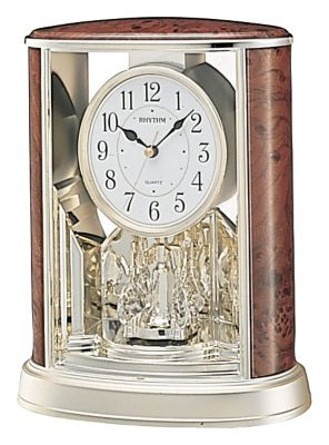 Wood Grain Teardrop Contemporary Motion Clock