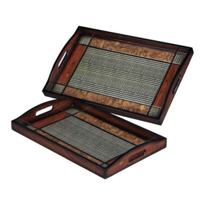 Checked Trays - Set of 2