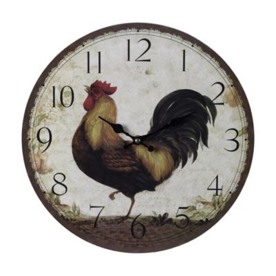 Large Rooster Wooden Clock