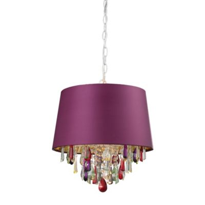 Purple Drum Pendant Light with Multi-Colored Crystal Drops